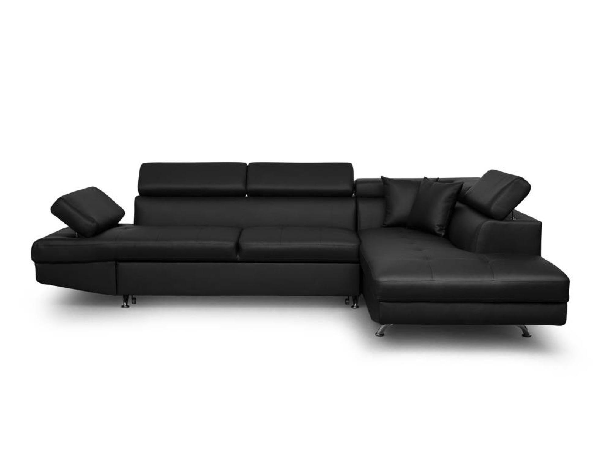 Canapé d'angle 5 places Noir Simili Contemporain Confort