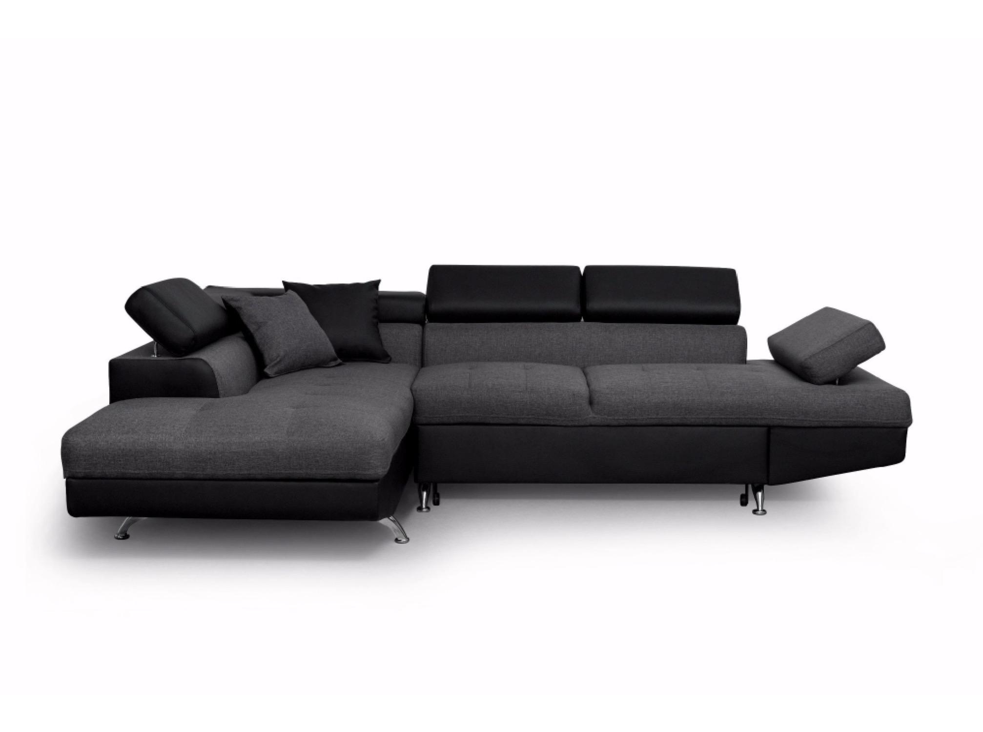Canapé d'angle 5 places Noir Contemporain Confort
