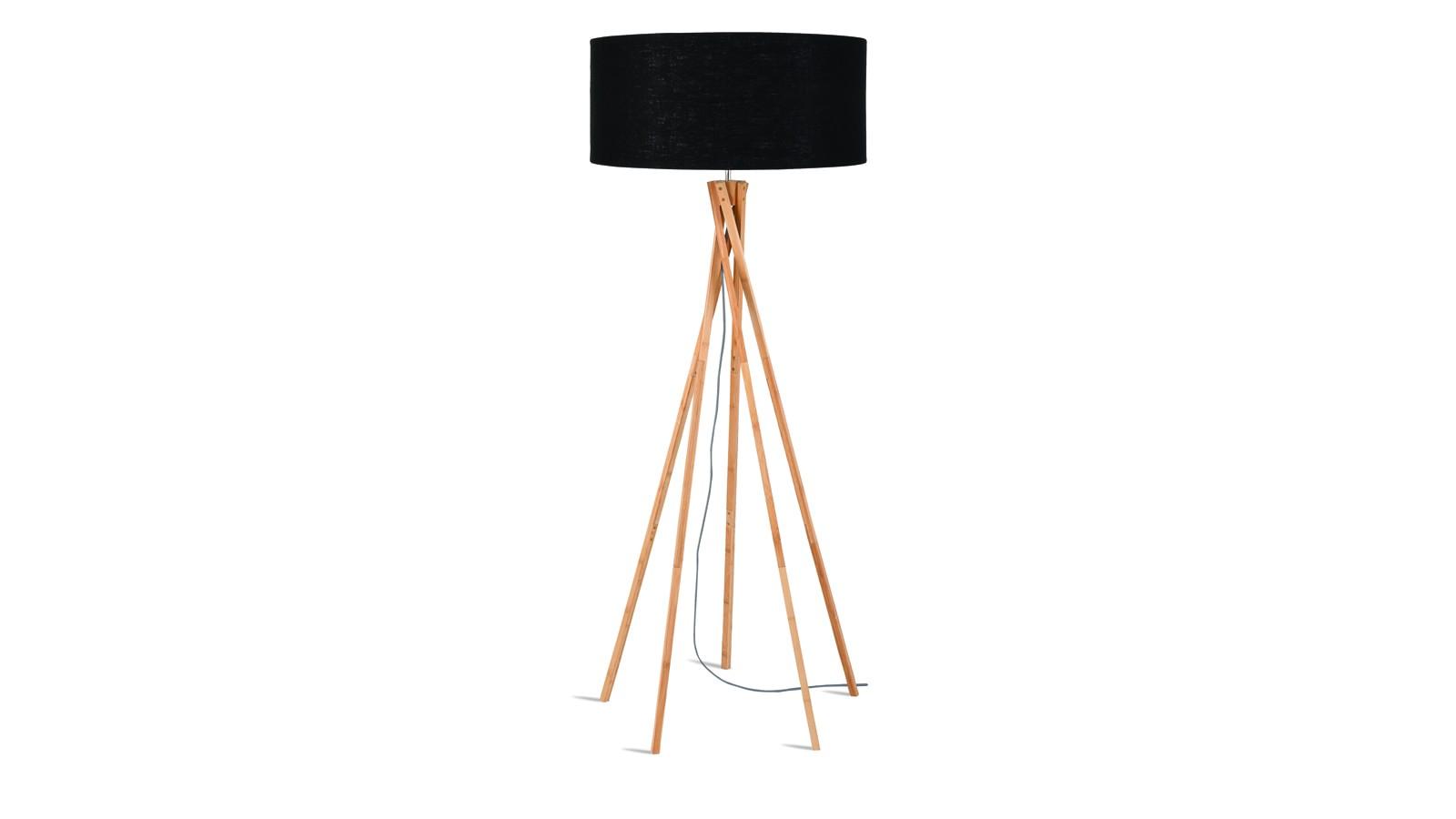 Lampadaire en bambou et lin noir H160cm
