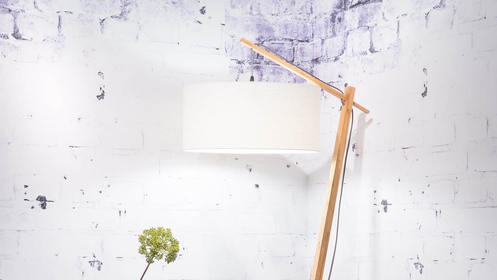 Lampadaire bambou et lin naturel blanc H176cm