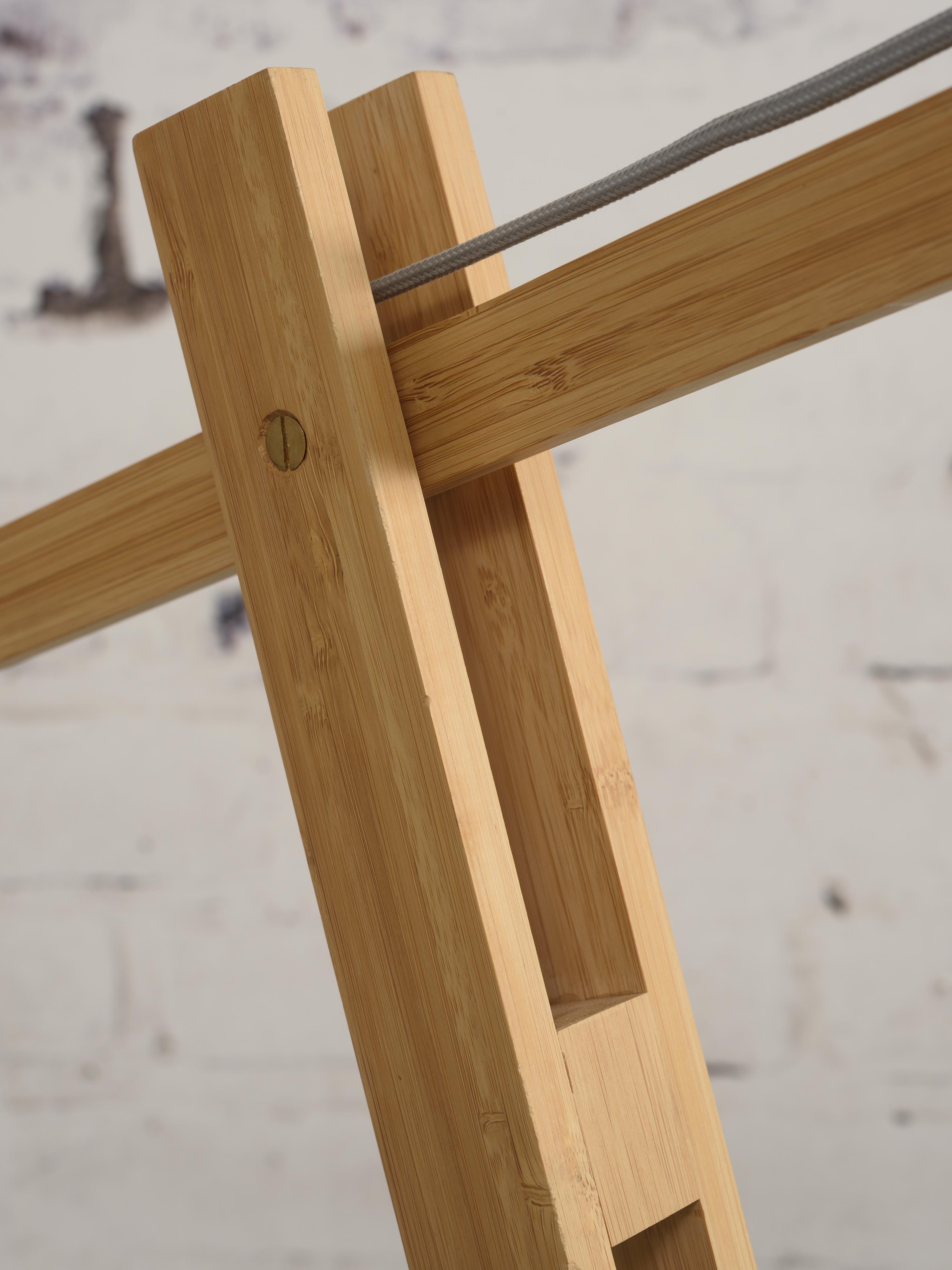 Lampadaire bambou/lin noir H207cm