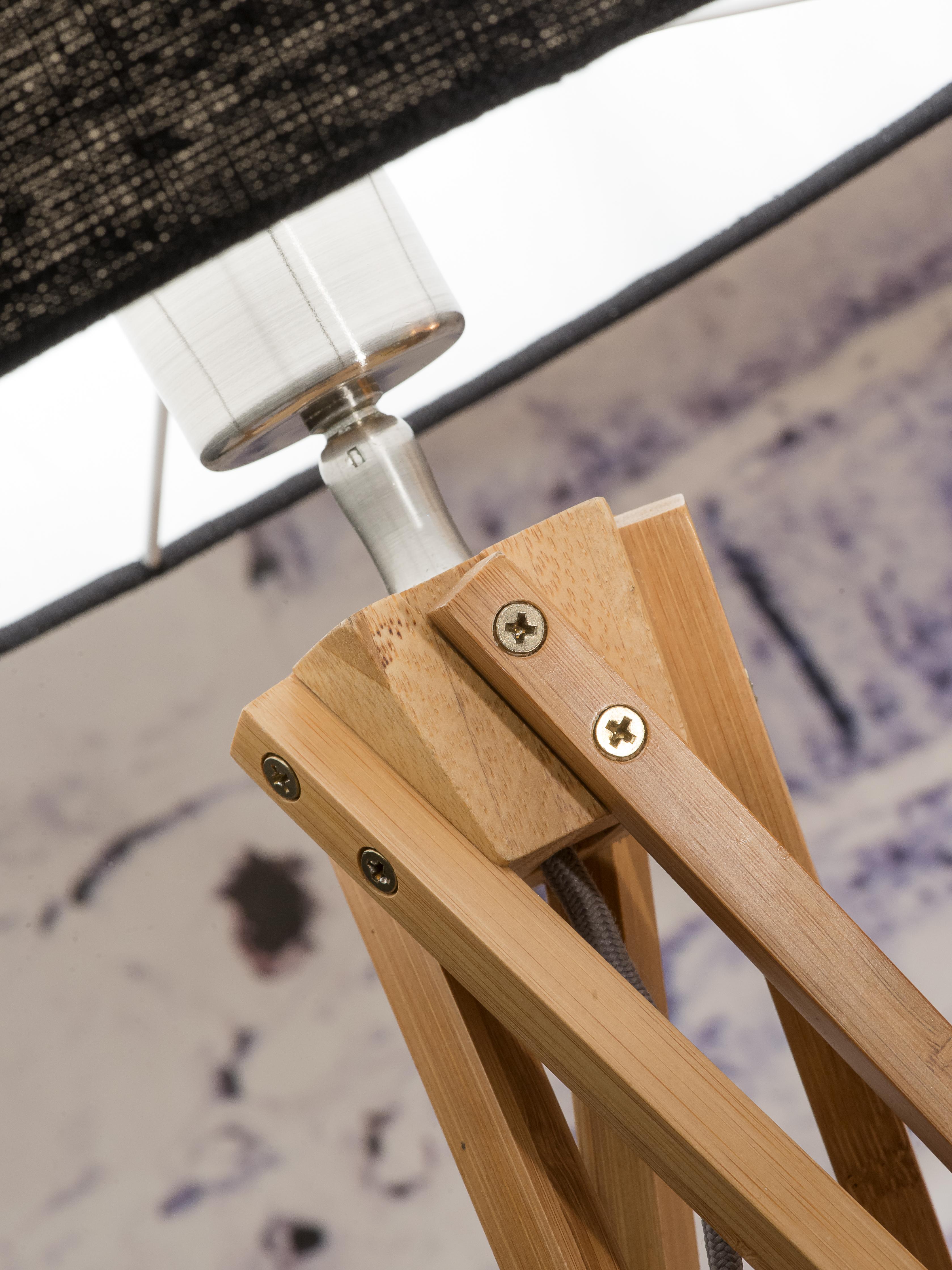 Lampadaire en bambou et lin blanc H160cm