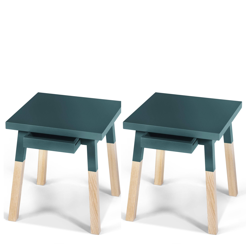 2 chevets laqués en bois avec tiroir bleu frehel (photo)