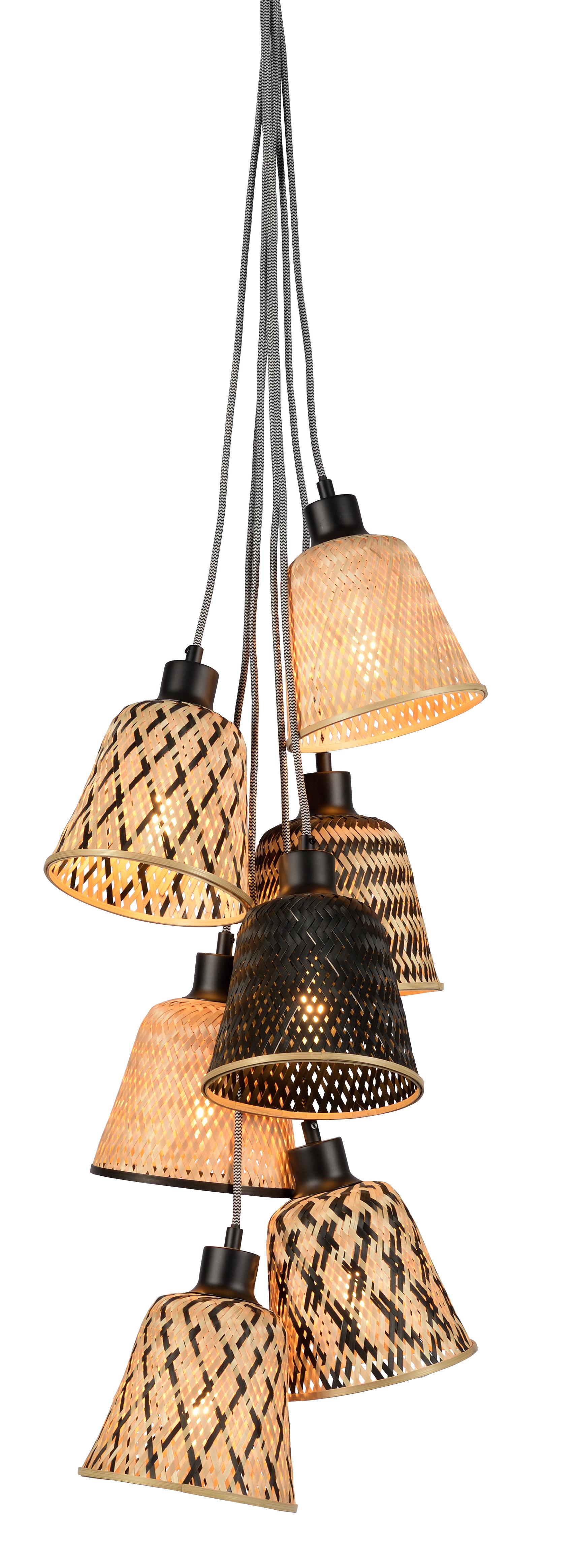 Suspension grappe en bambou 7 pendants
