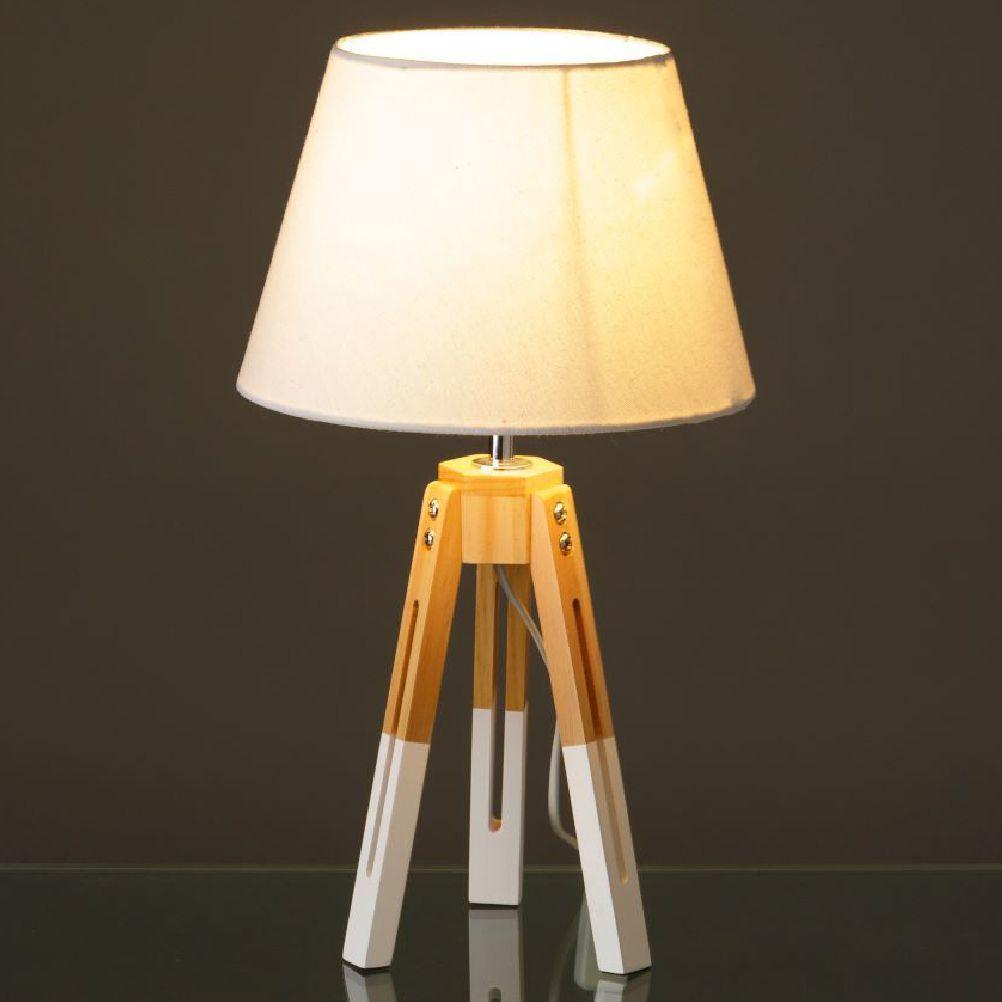 Lampe en bois et toile H42cm