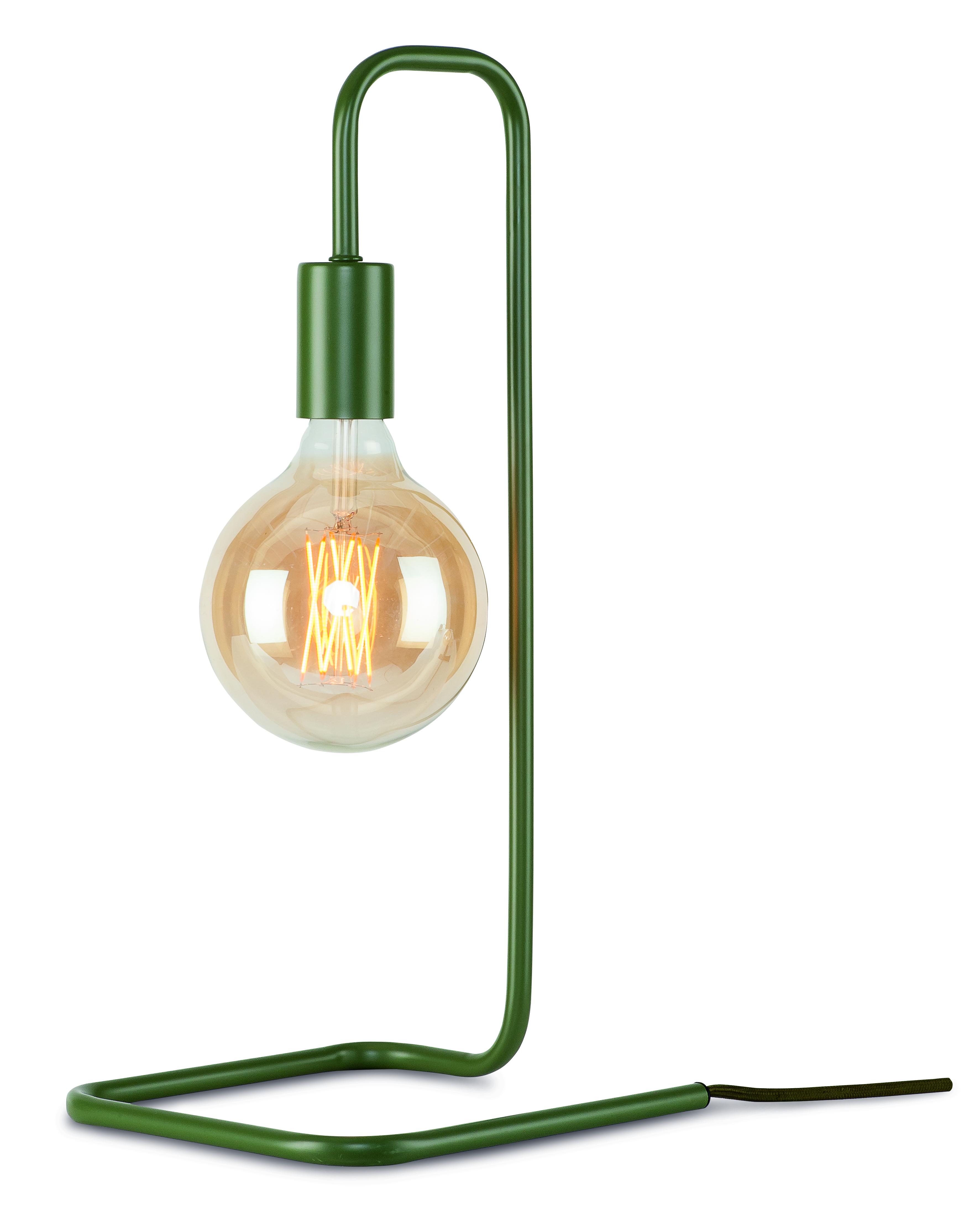 Lampe de table en fer vert H45cm