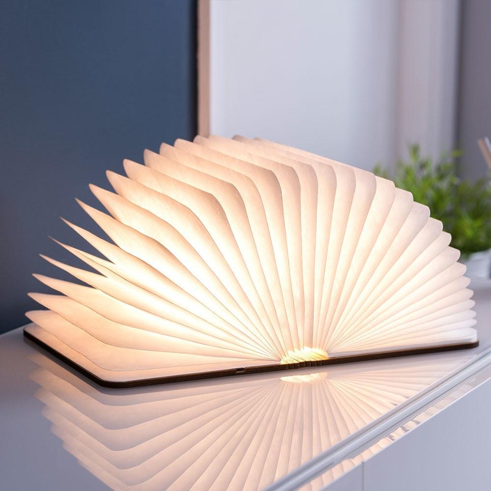 Lampe à poser livre led couverture en bois