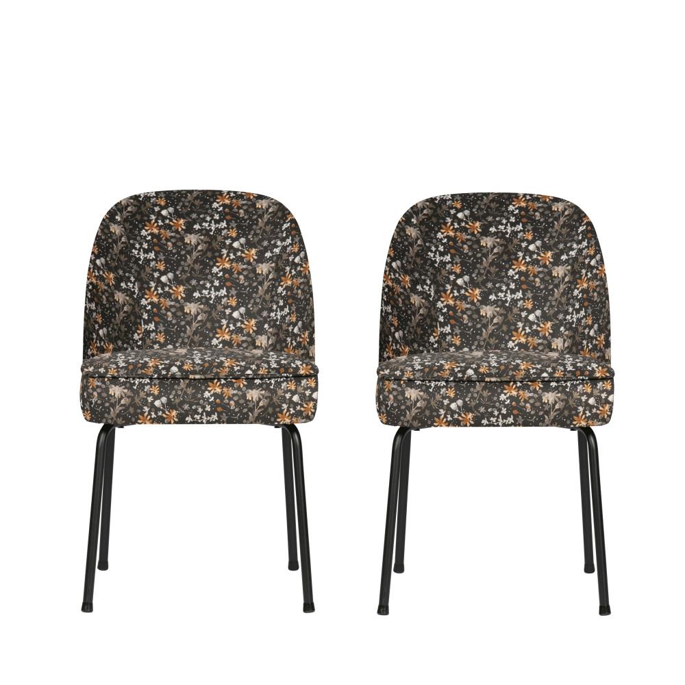2 chaises design en velours multicolore