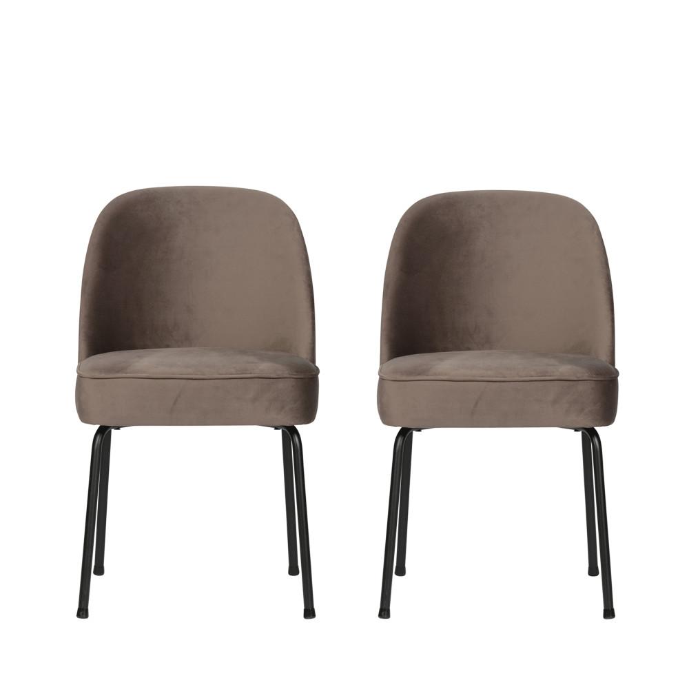 2 chaises design en velours taupe