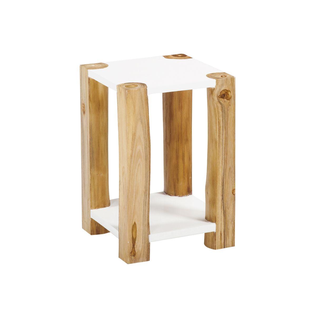 Bout de canapé en bois de teck blanc H45 (photo)