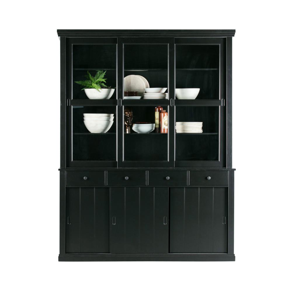 Vaisselier en pin 6 portes 4 tiroirs noir