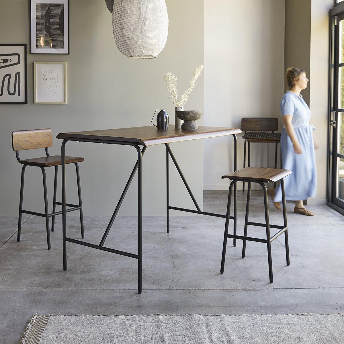 maison du monde Table haute en métal et bois de palissandre 140x85