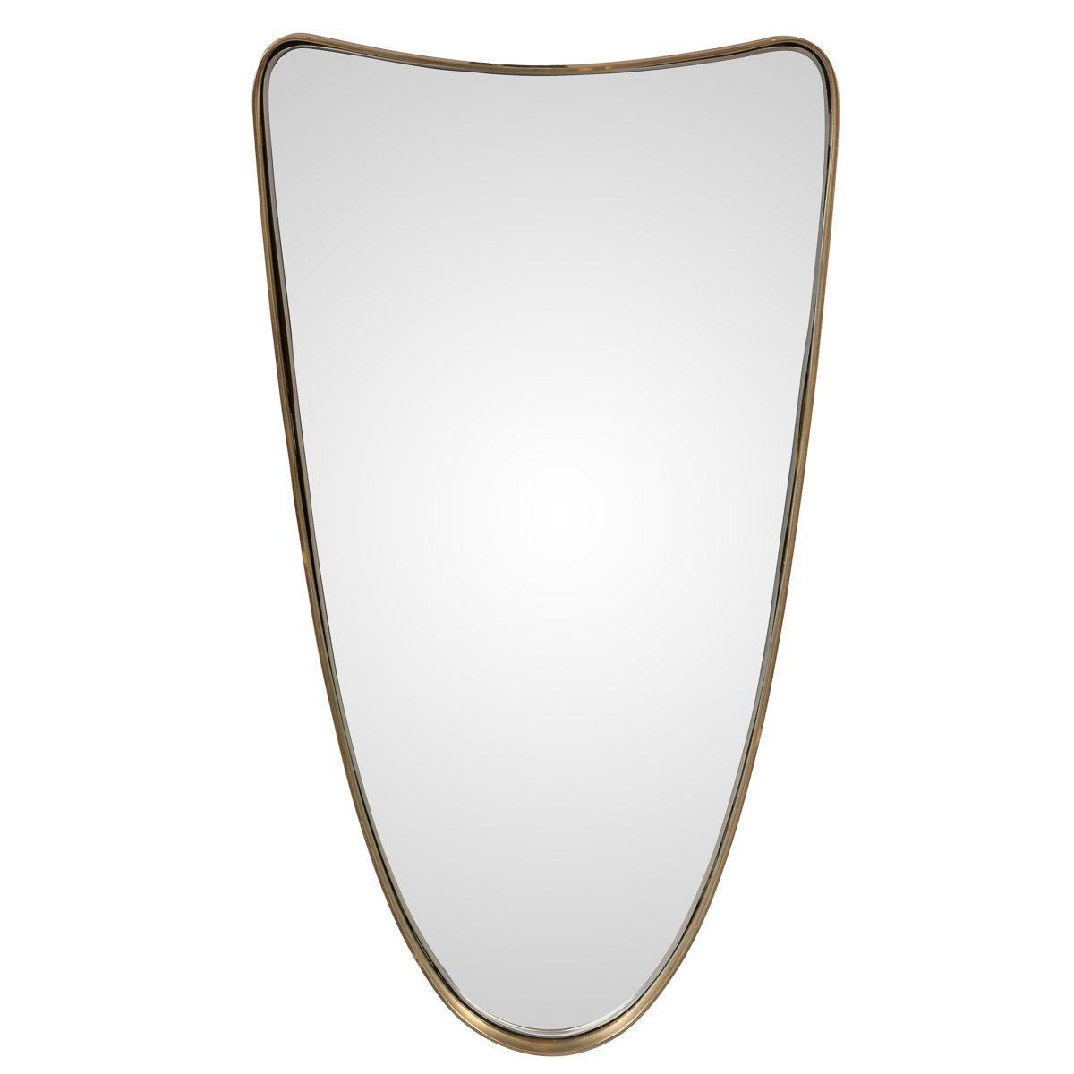 Miroir doré en fer et placage laiton 61x31cm