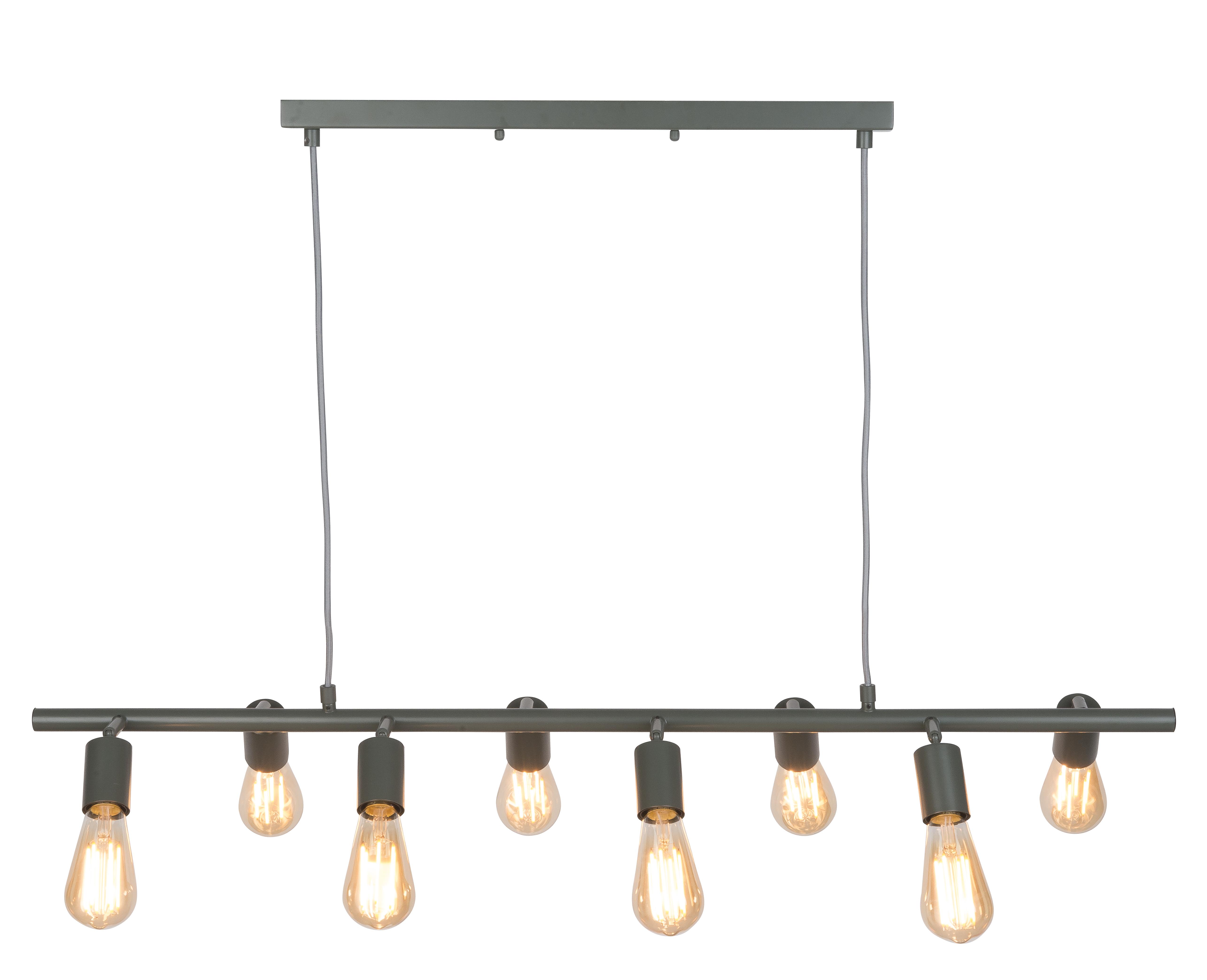 Suspension 8 lumières métal vert L105cm