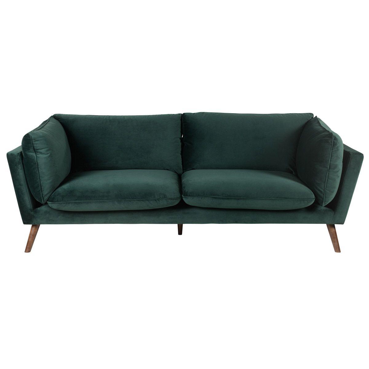 Canapé 3 places vert en velours