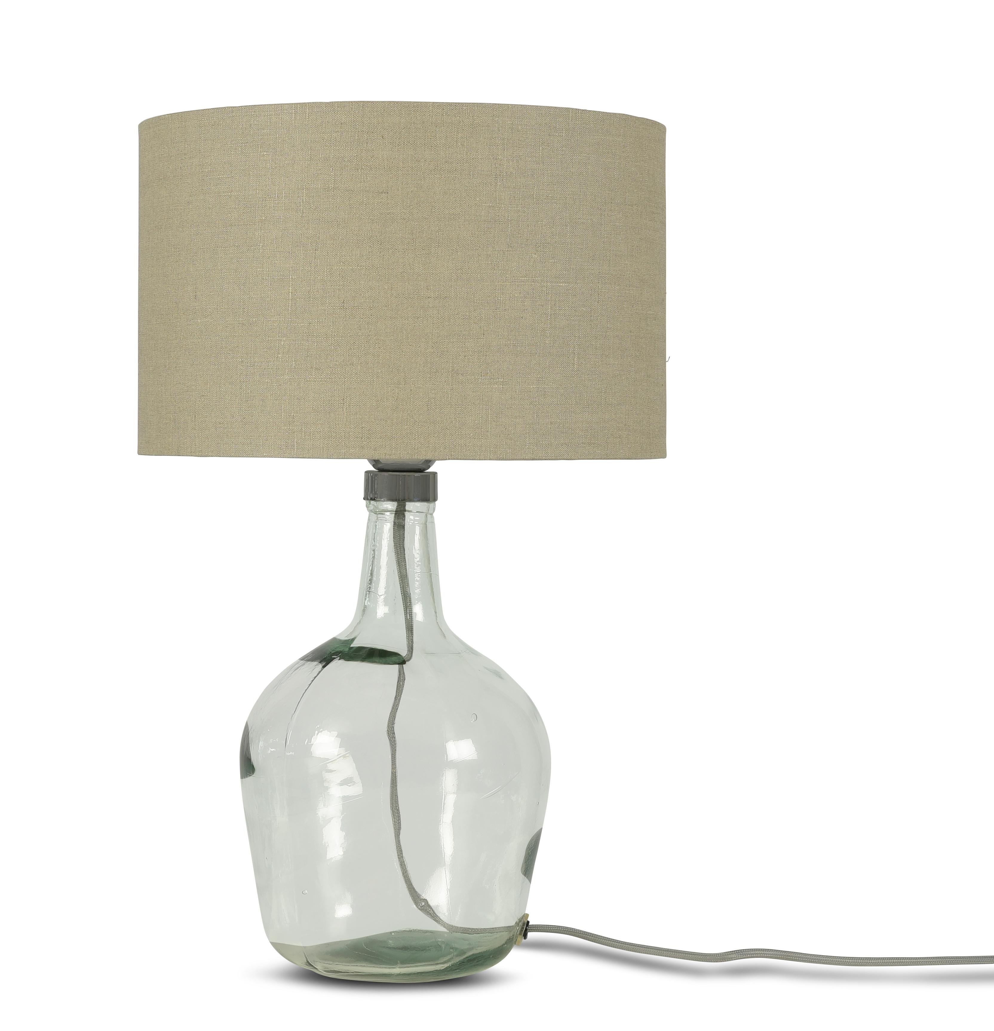 Lampe de table en verre recyclé et lin H34cm