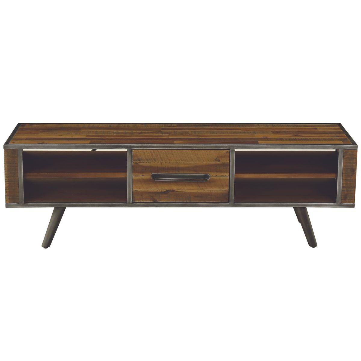 Meuble TV métal et bois d'acacia de 150 cm