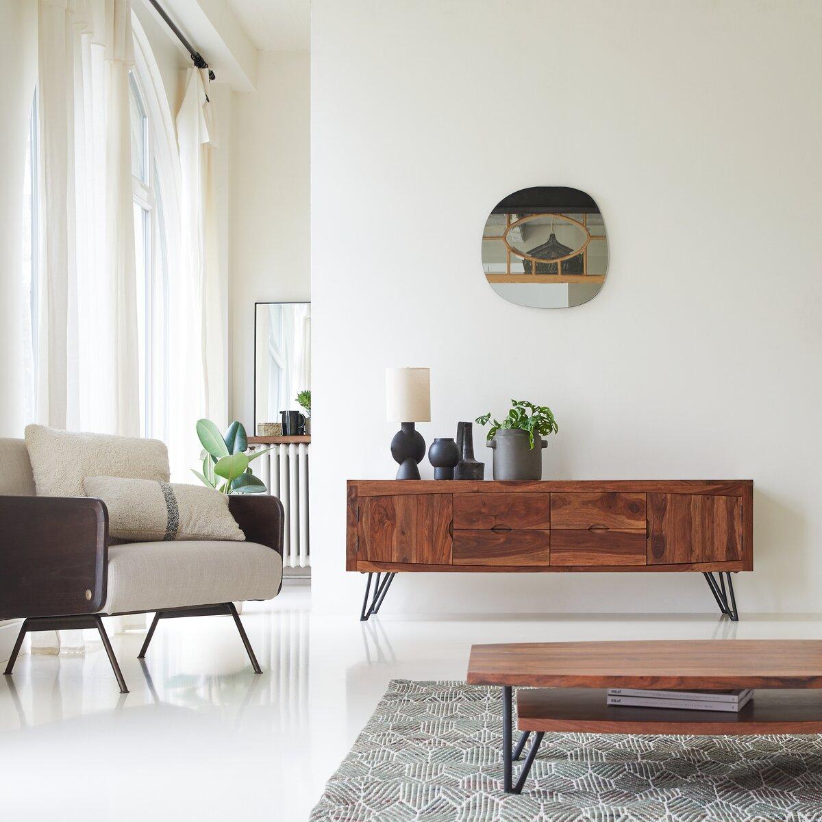 Meuble TV en bois de palissandre massif 180 cm