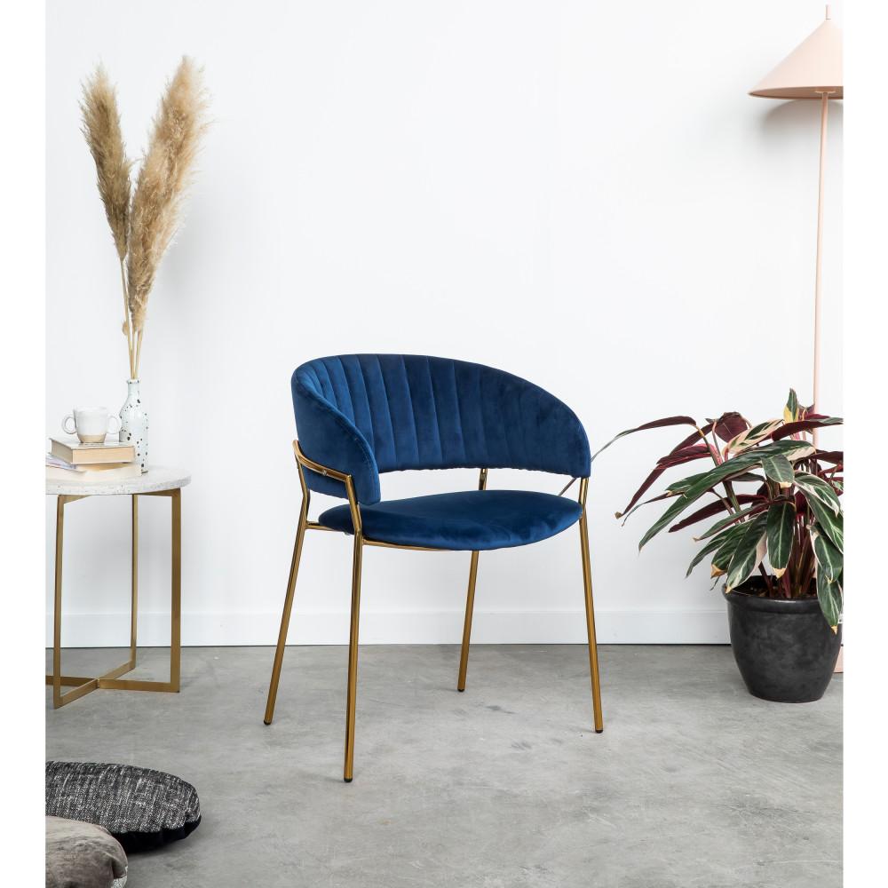 2 chaises en velours pieds dorés bleu marine