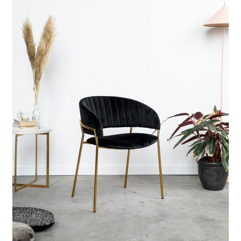 2 chaises en velours pieds dorés noir