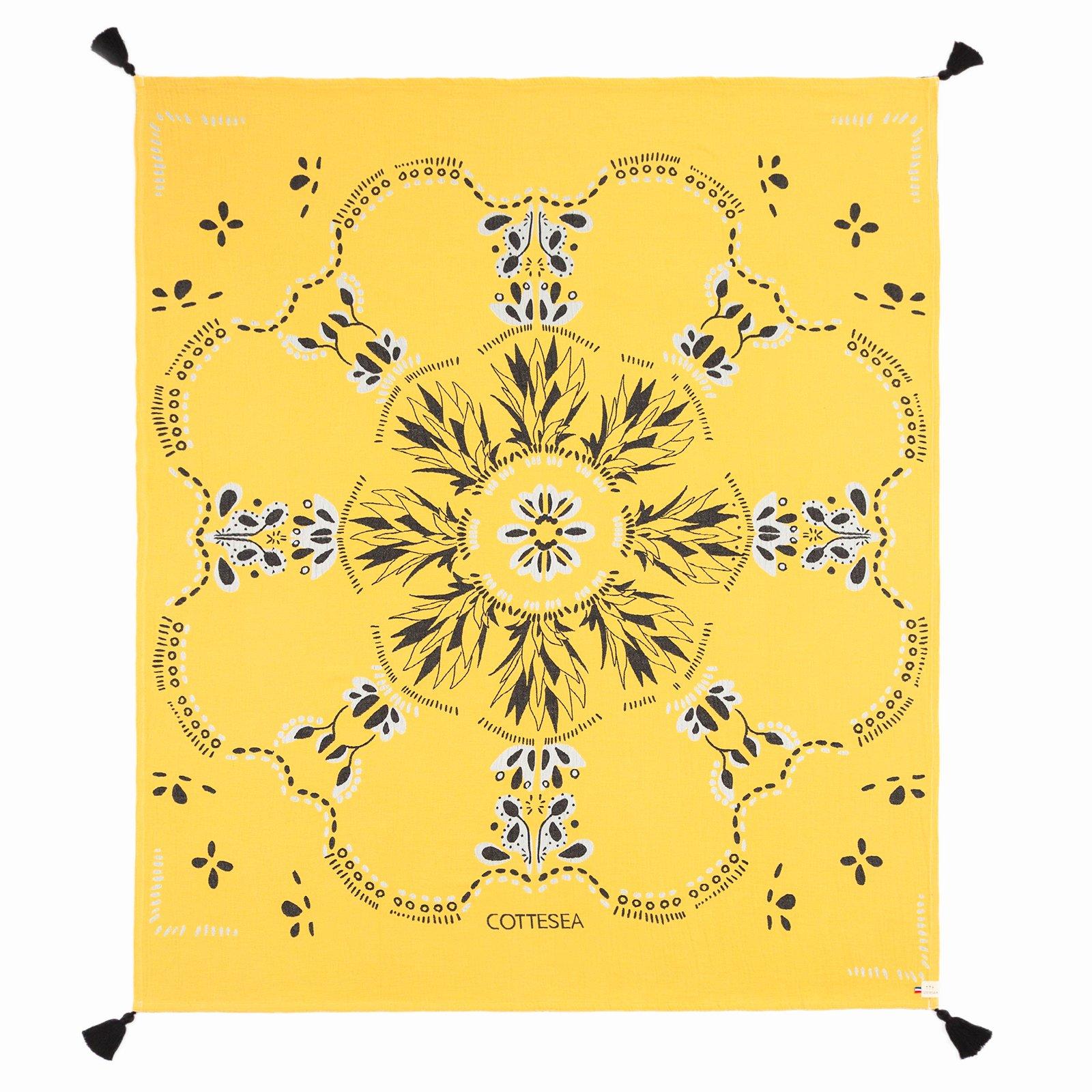 Drap de plage en coton biologique jaune 140 x 170