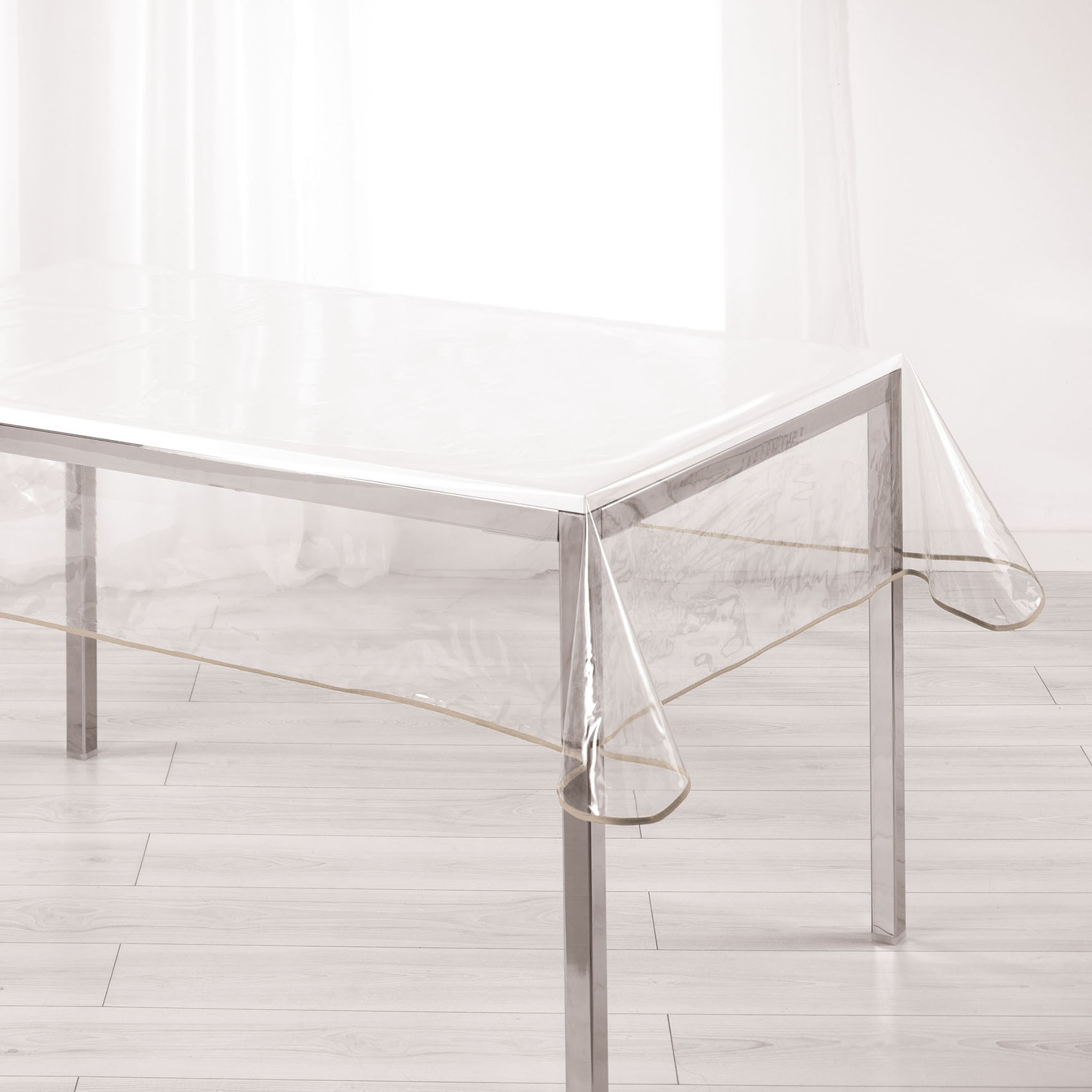 Nappe rectangulaire finition biais coloré polyester taupe 240x140