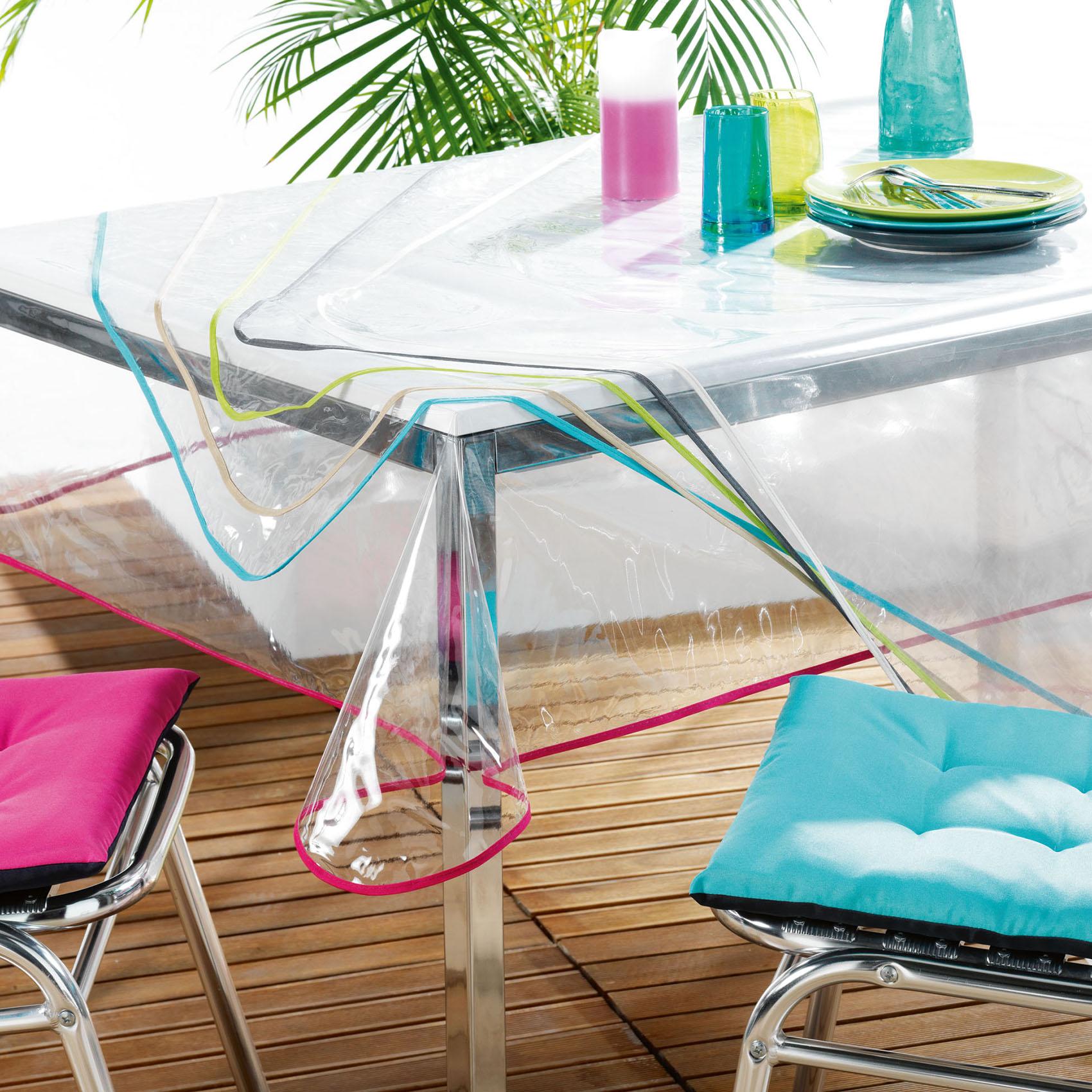 Nappe rectangulaire finition biais coloré polyester blanc 240x140