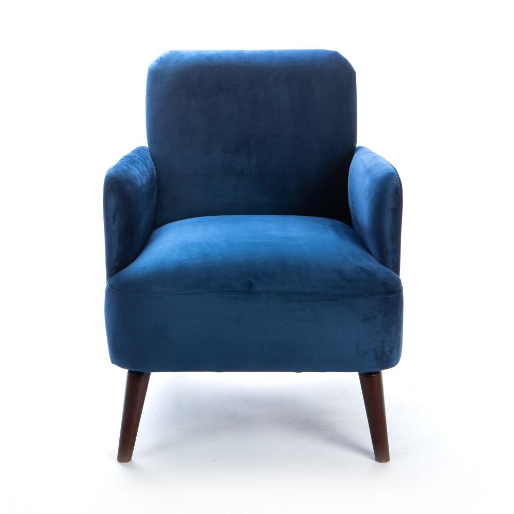 Fauteuil rétro velours bleu foncé