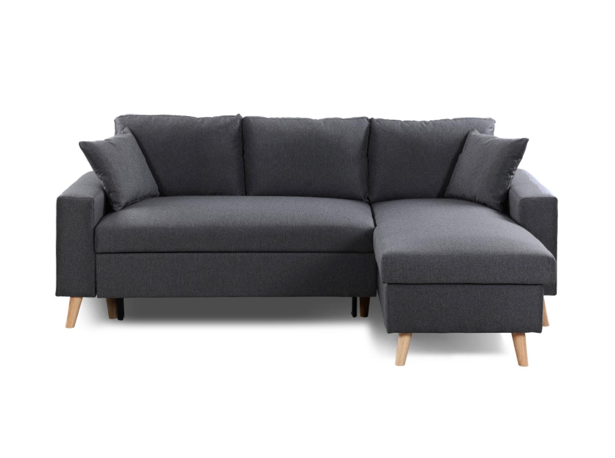 Canapé d'angle 4 places Gris Tissu Scandinave Confort