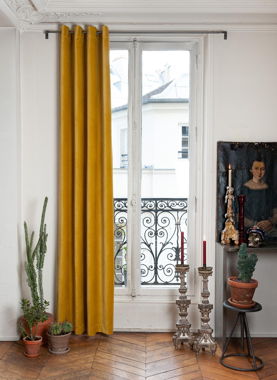 Rideau en velours de coton doublé 135x280 cm jaune