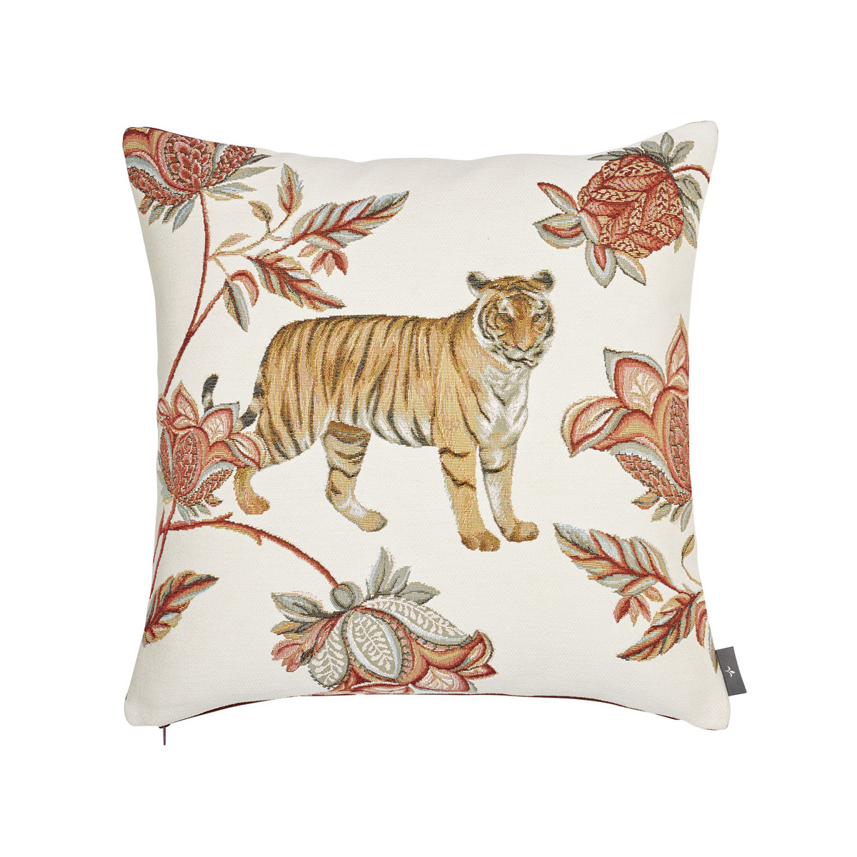 Coussin tapisserie indiennes Blanc   50 x 50