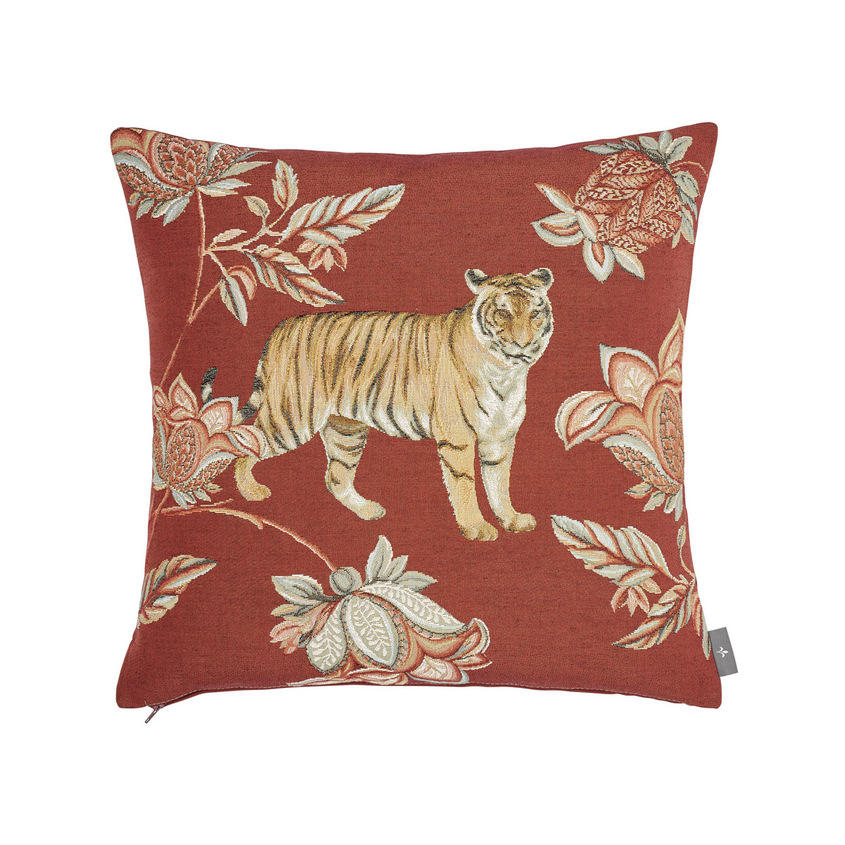 Coussin tapisserie indiennes Rouge   50 x 50