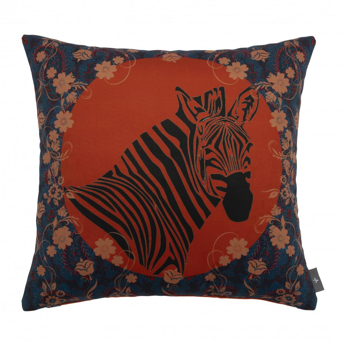 Coussin zebre imprimé sur velours made in france orange 47x47