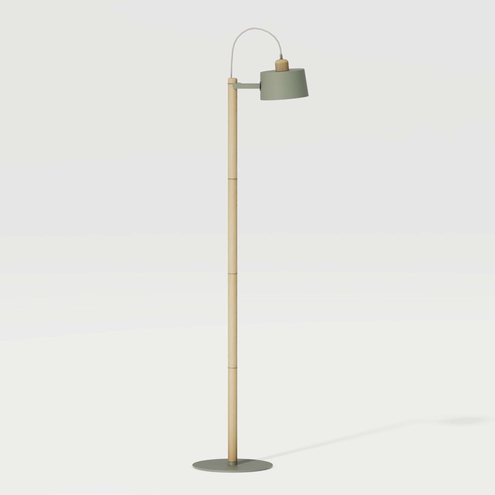 Luminaire à poser chêne et métal vert