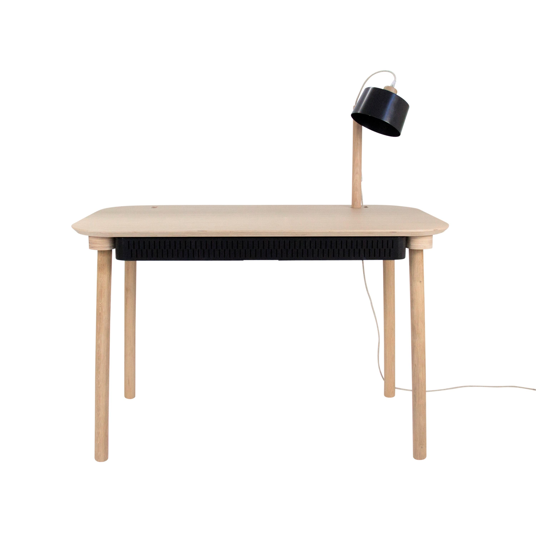 Bureau en chêne avec lampe et tiroir en métal noir