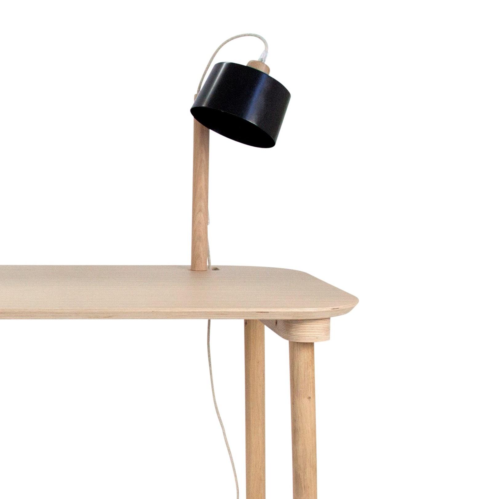 Bureau en chêne avec lampe noir