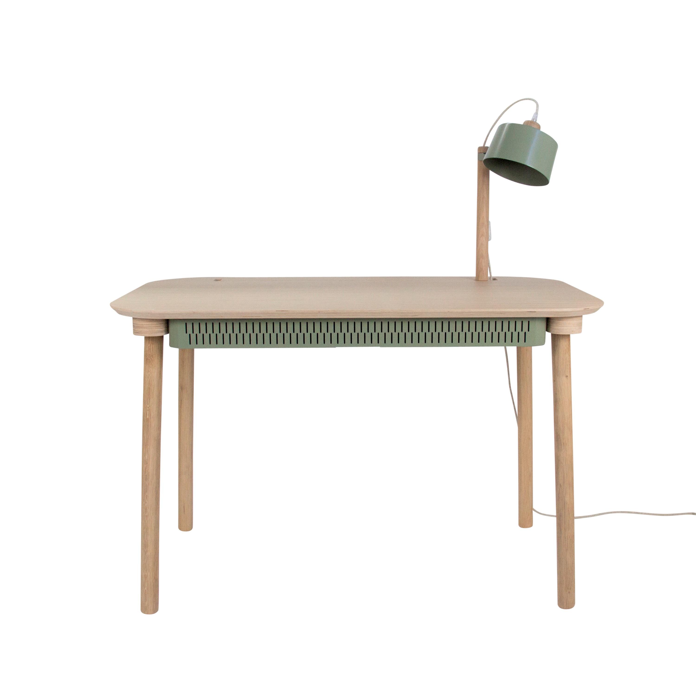 Bureau en chêne avec lampe et tiroir en métal vert