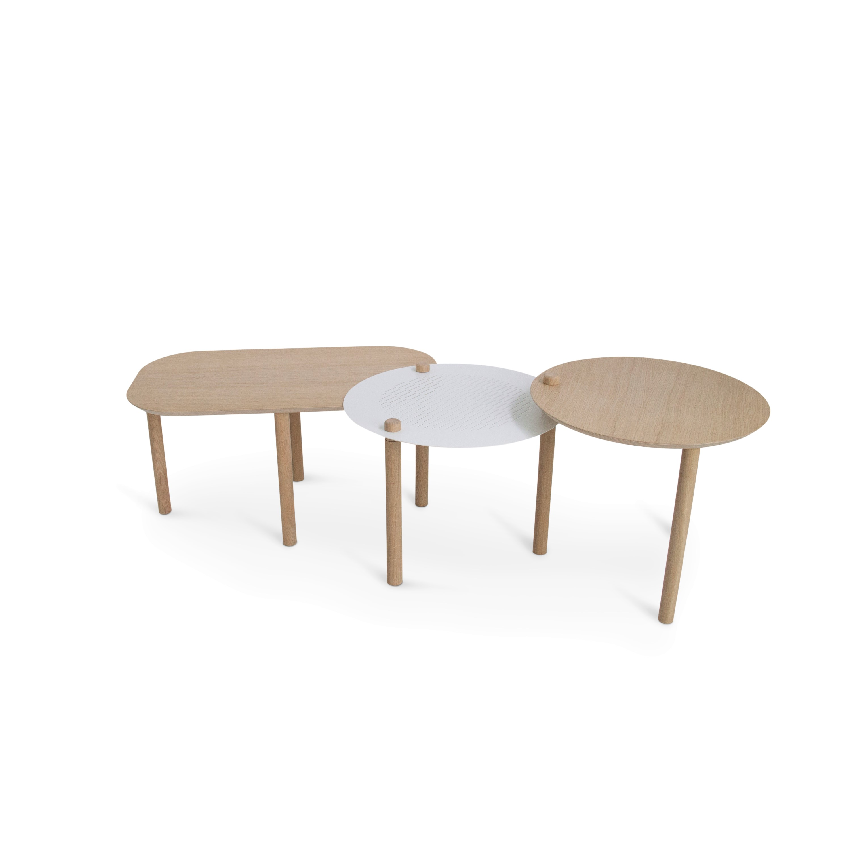 Table basse chêne et métal blanc