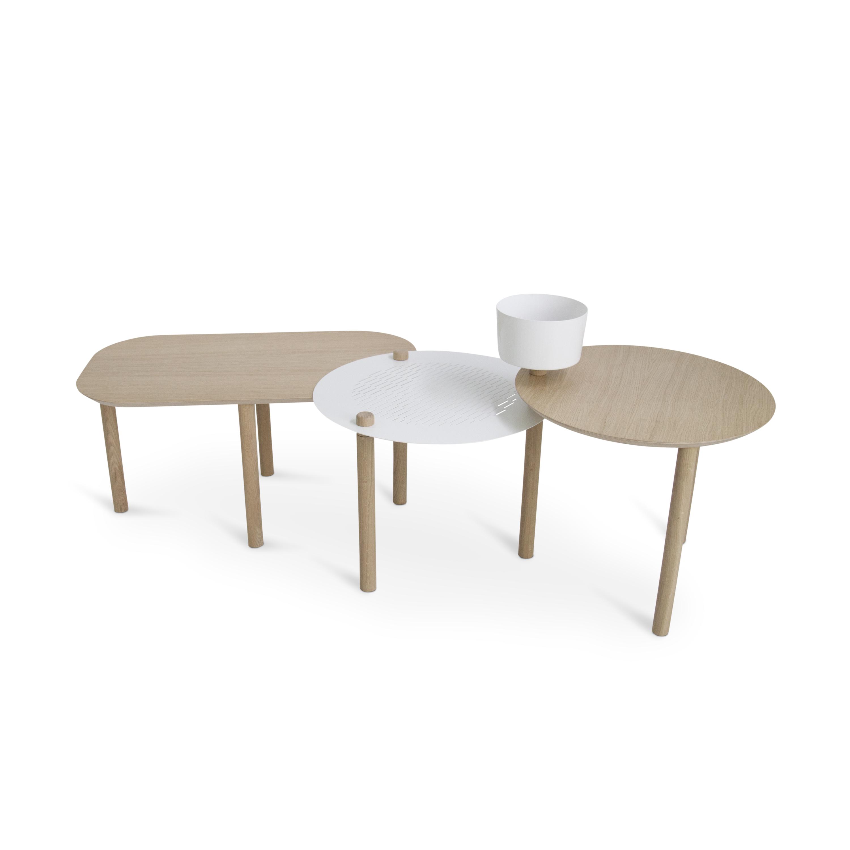 maison du monde Table basse 3 plateaux chêne et métal avec bol blanc