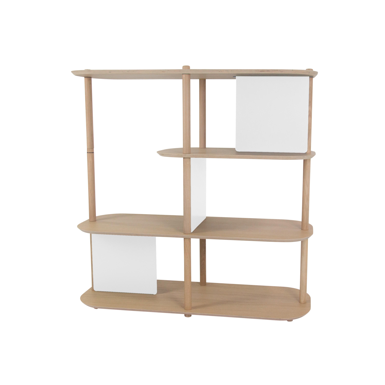 Grande étagère 4 niveaux en chêne et métal blanc