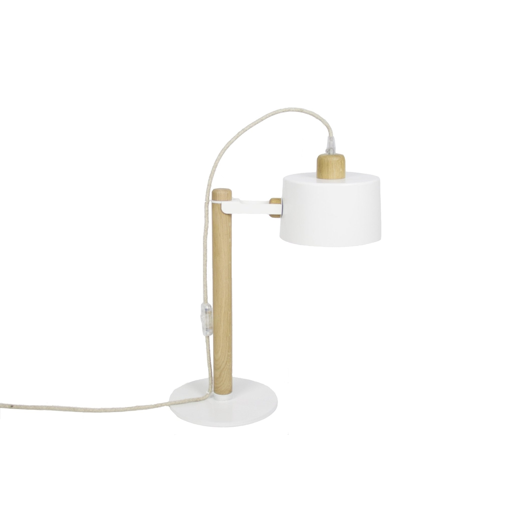 Lampe à poser en chêne et métal blanc