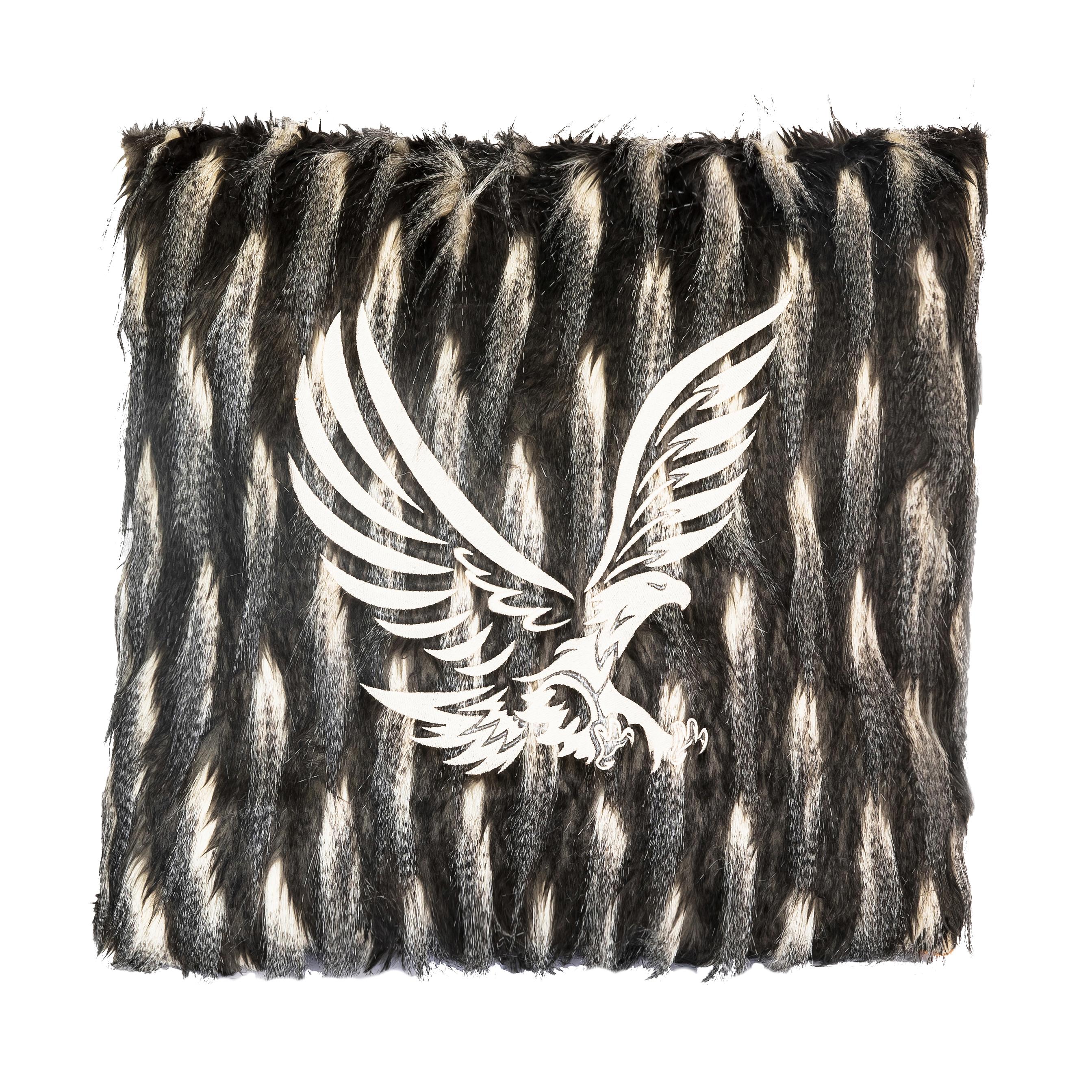 Coussin en coton blanc motif tigre noir