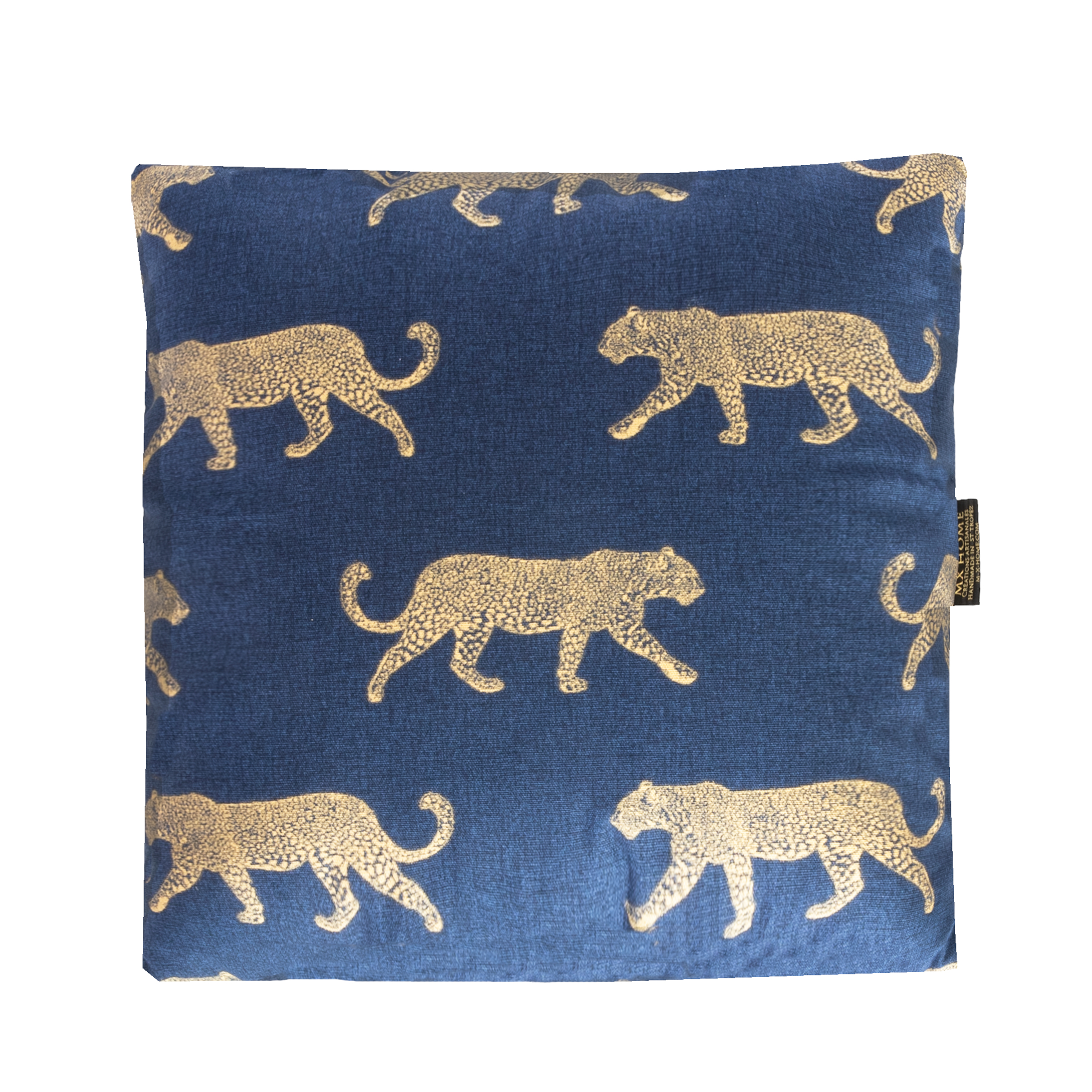 Coussin en coton bleu cyan motif tigre or