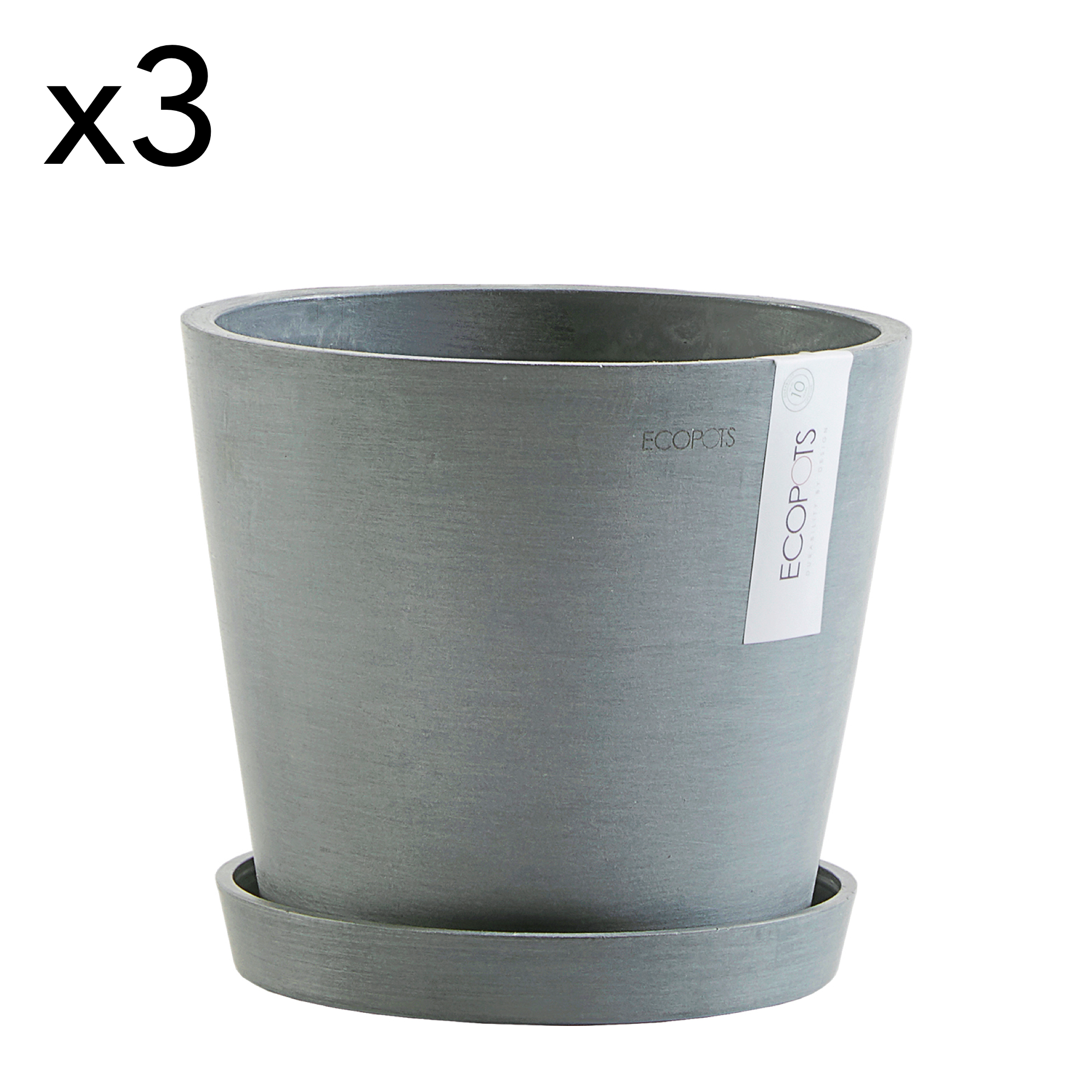 Lot de 3 pots de fleurs avec soucoupe bleu gris D20
