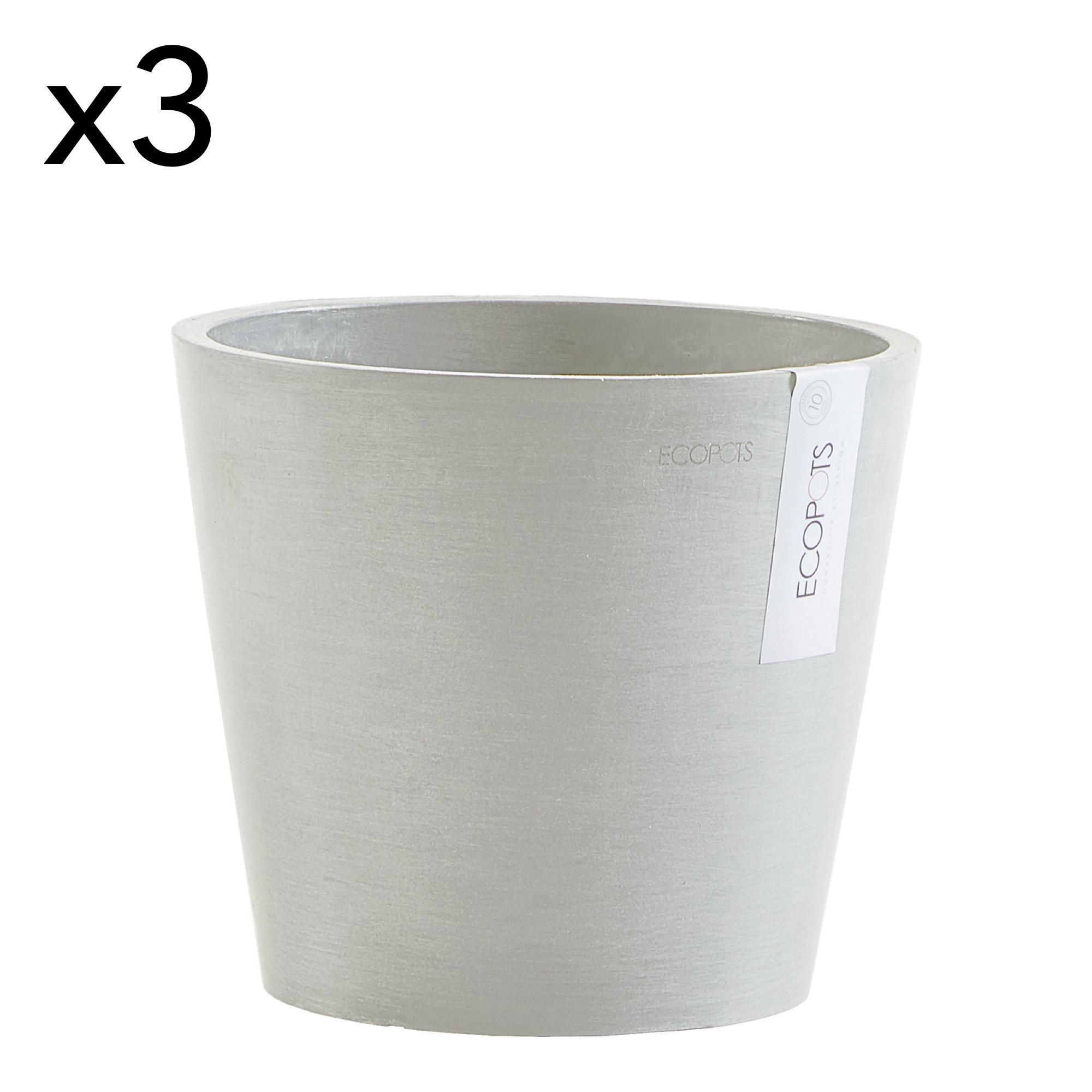 Lot de 3 pots de fleurs blanc gris D20
