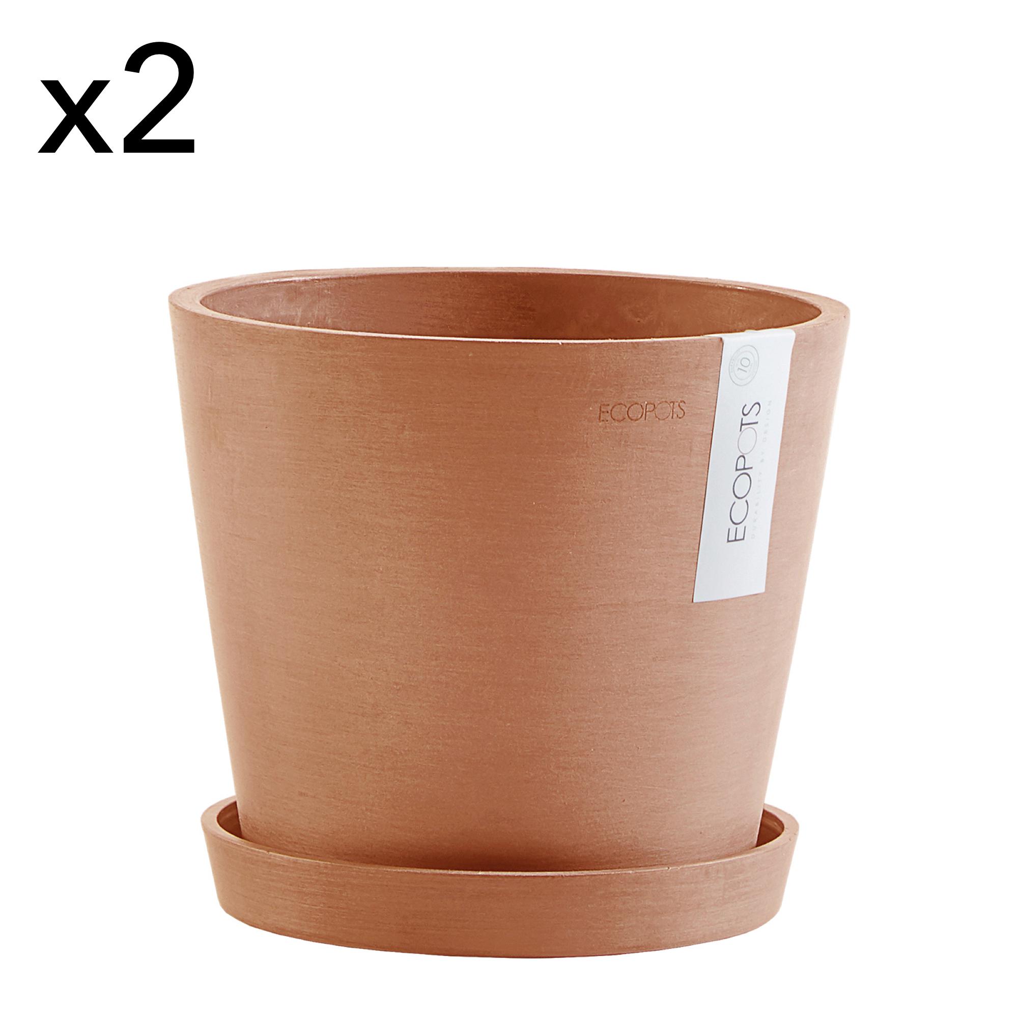 Lot de 2 pots de fleurs avec soucoupe terracotta D20