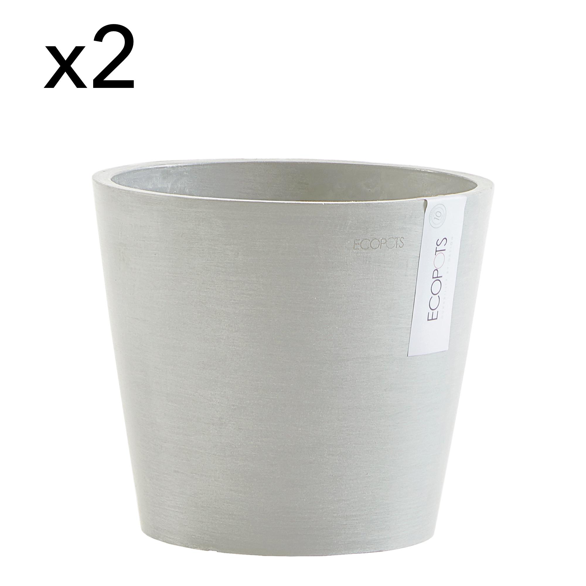 Lot de 2 pots de fleurs blanc gris D20