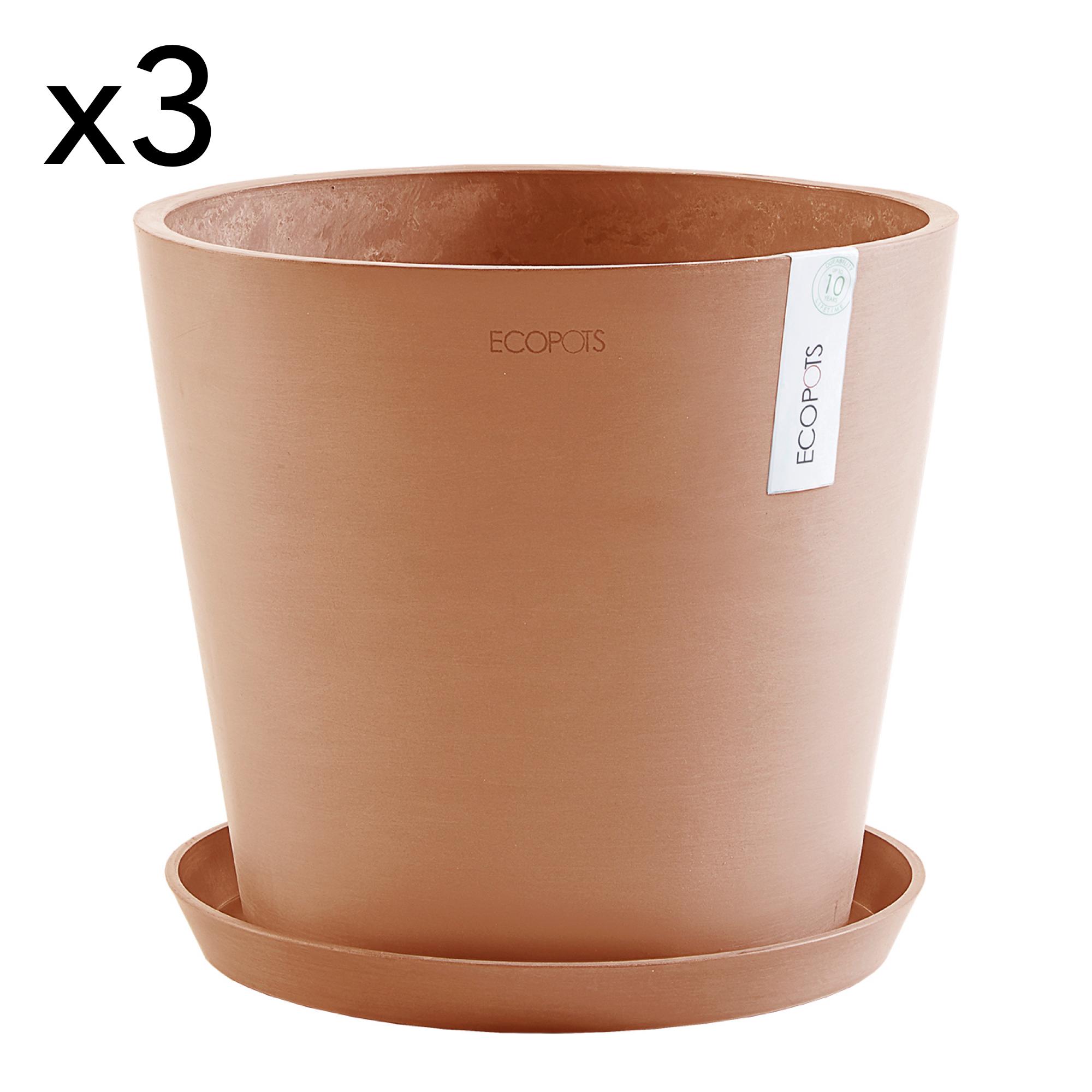 Lot de 3 pots de fleurs avec soucoupe terracotta D30