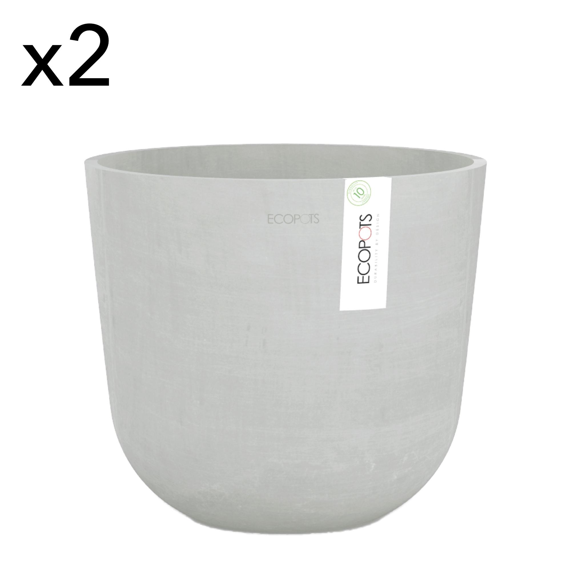 Lot de 2 pots de fleurs blanc gris D25