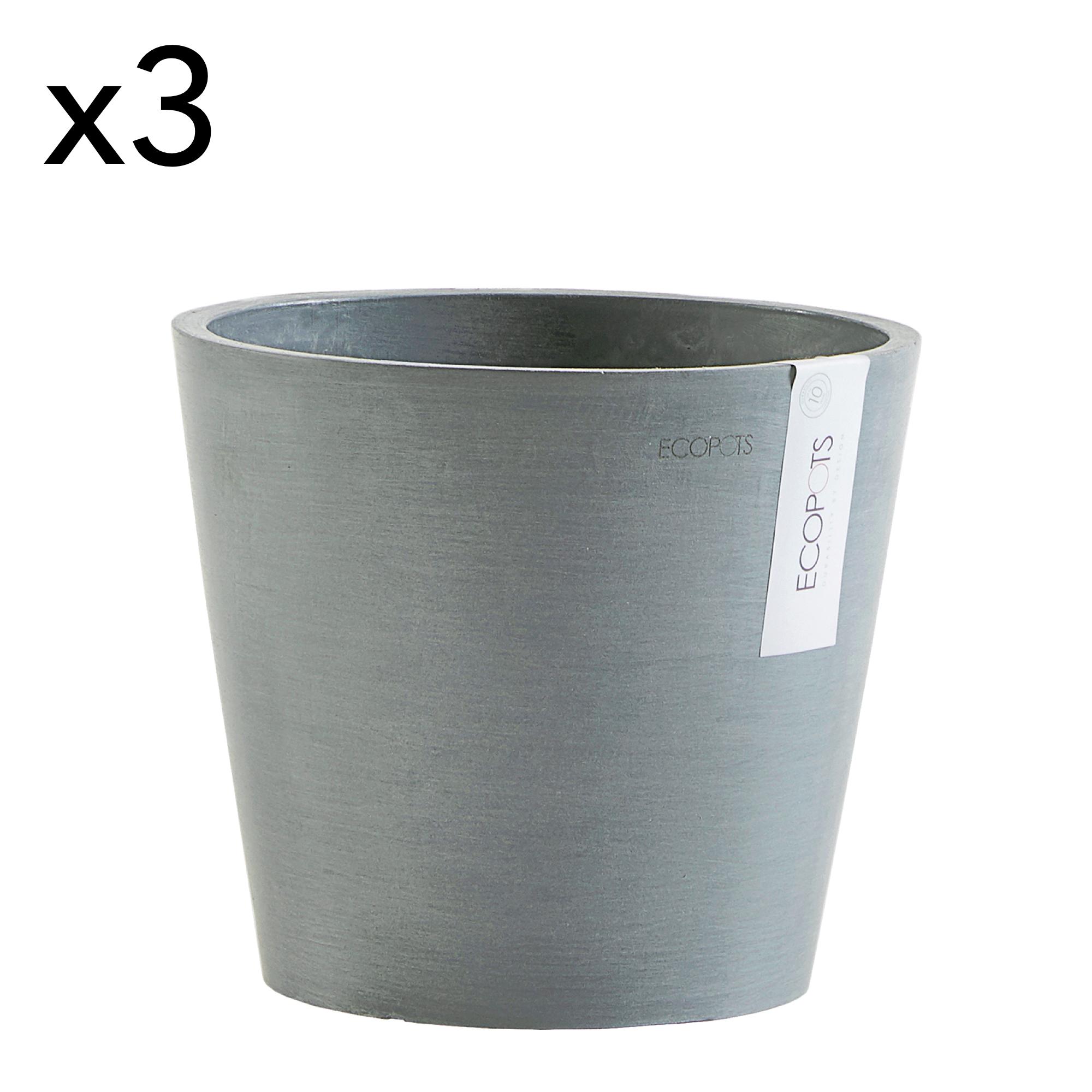 Lot de 3 pots de fleurs bleu gris D20